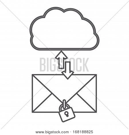 silhouette cloud with arrows in opposite direction with enveloped and padlock vector illustration