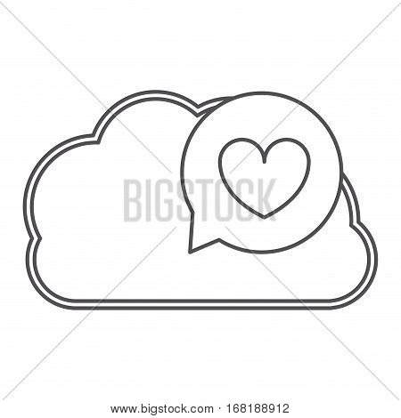 silhouette cloud in cumulus with heart dialogue