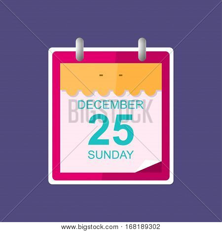 Calendar Leaf Isolated on Purple Background ,Christmas ,December 25