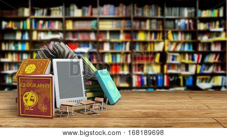 E-book Reader Books And Tablet Library Background 3D Render Success Knowlege Concept