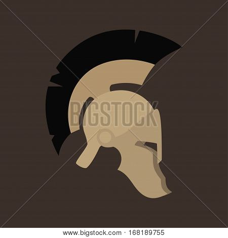 Antiques Roman or Greek Helmet Isolated, Helmet with a Black Crest of Feathers or Horsehair with Slits for the Eyes and Mouth