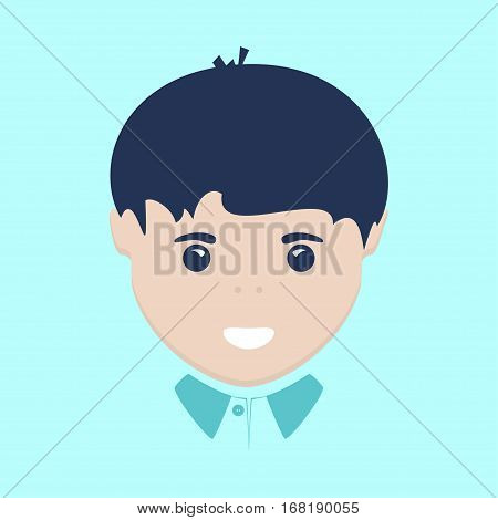 Face of the European Boy Isolated on Blue Background