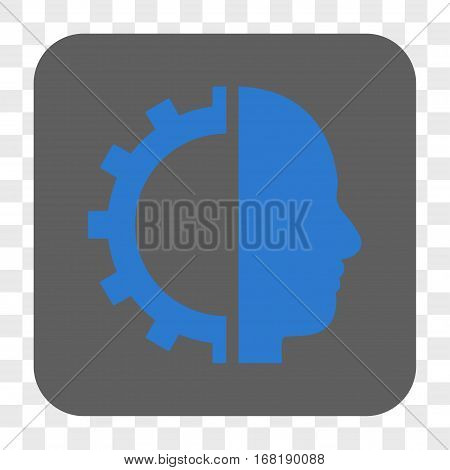 Cyborg Gear interface toolbar button. Vector icon style is a flat symbol in a rounded square button blue and gray colors chess transparent background.