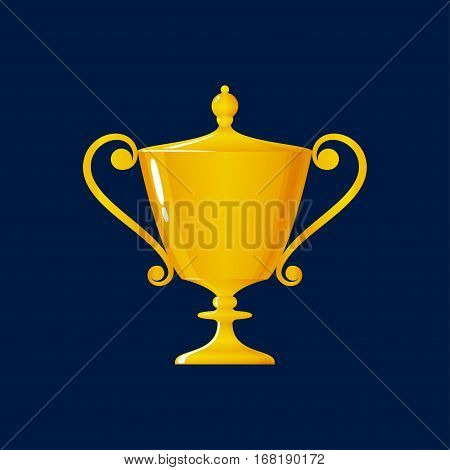 Cup of Winner, Gold Trophy Cup on Blue Background