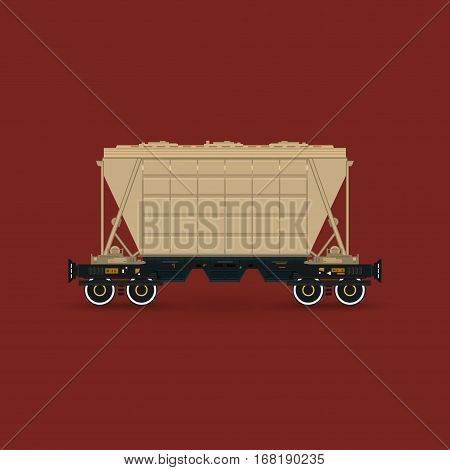 Hopper Car for Transportation, Freights on Railway Platform Isolated on Red Background, Railway Transport