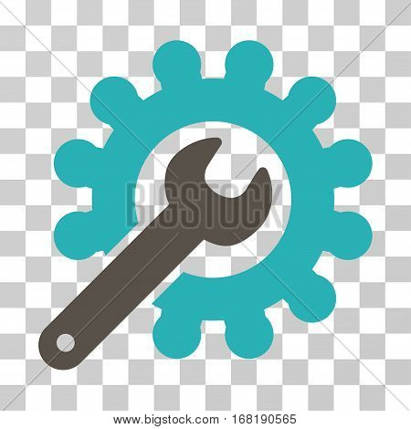 Wrench And Gear Customization Tools icon. Vector illustration style is flat iconic bicolor symbol grey and cyan colors transparent background. Designed for web and software interfaces.