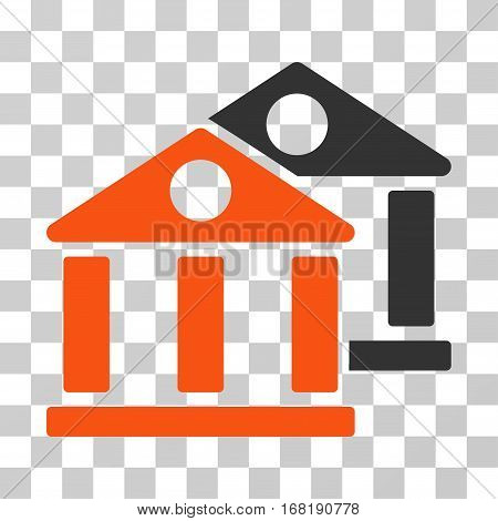 Banks icon. Vector illustration style is flat iconic bicolor symbol orange and gray colors transparent background. Designed for web and software interfaces.