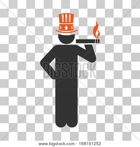 Capitalist icon. Vector illustration style is flat iconic bicolor symbol orange and gray colors transparent background. Designed for web and software interfaces.