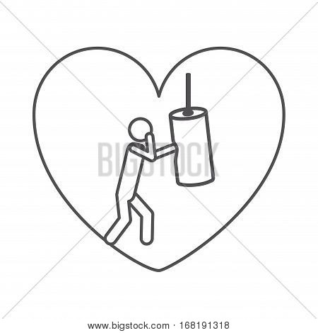 contour heart shape with pictogram man knocking bag weight vector illustration