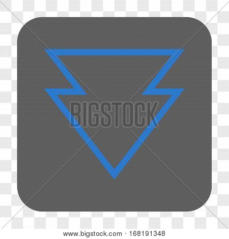 Direction Down interface toolbar button. Vector icon style is a flat symbol on a rounded square button blue and gray colors chess transparent background.