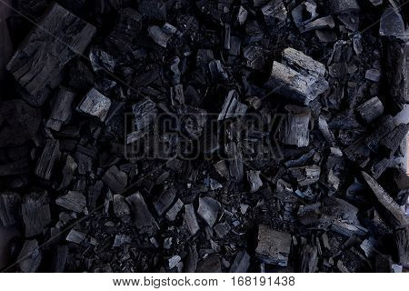 Black wood charcoal texture background, natural charcoal