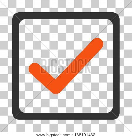 Checkbox icon. Vector illustration style is flat iconic bicolor symbol orange and gray colors transparent background. Designed for web and software interfaces.