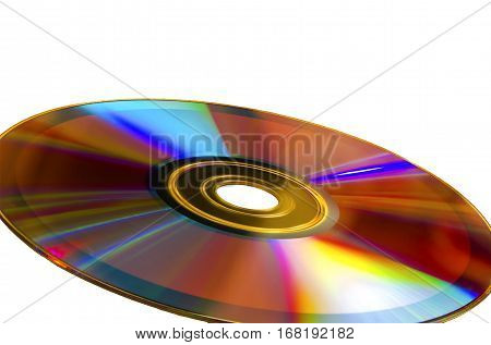 DVD-disk, CD-ROM isolated on a white background with a slope