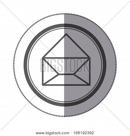 sticker circular shape with silhouette paper envelope opened icon vector illustration