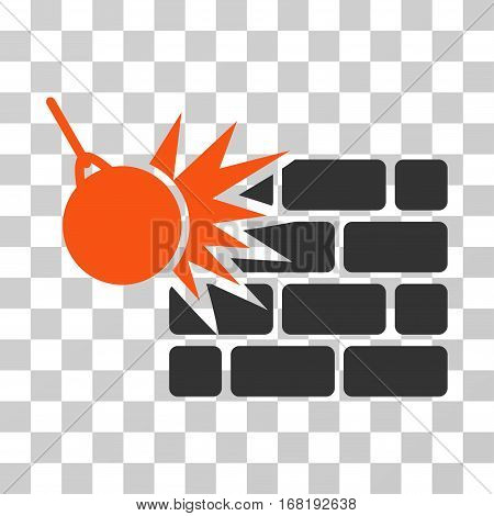 Destruction icon. Vector illustration style is flat iconic bicolor symbol orange and gray colors transparent background. Designed for web and software interfaces.