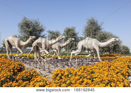 DUBAI UAE - DEC 2 2016: Racing camels statue at the Dubai Camel Race Course. United Arab Emirates Middle East