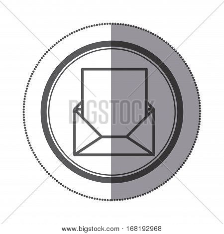 sticker circular shape with blank paper envelopes opened with sheet