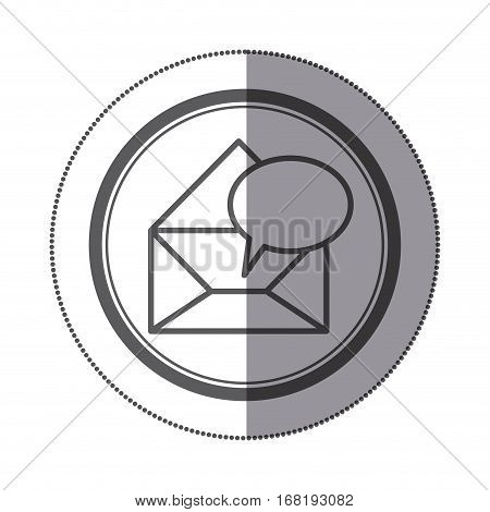 sticker circular shape with blank paper envelopes opened with dialog box vector illustration