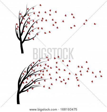 Set of Valentine trees with red falling hearts isolated on white background. Beautiful romantic love plant. Vector illustration