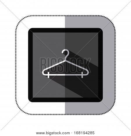 sticker monochrome square with hook closet shirt vector illustration