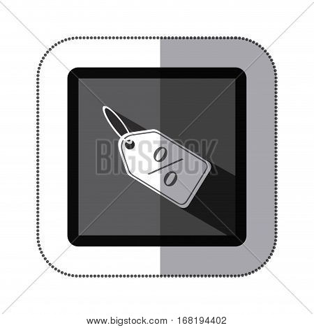 sticker monochrome square with label with percentage discount vector illustration