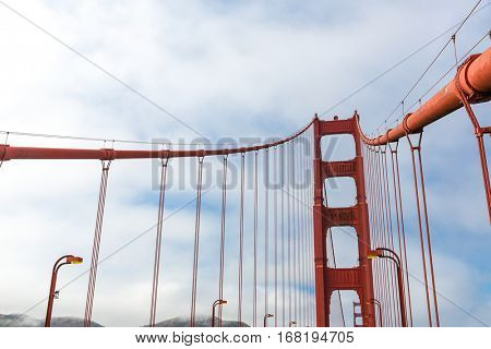 Tethers construction on Golden Gate Bridge