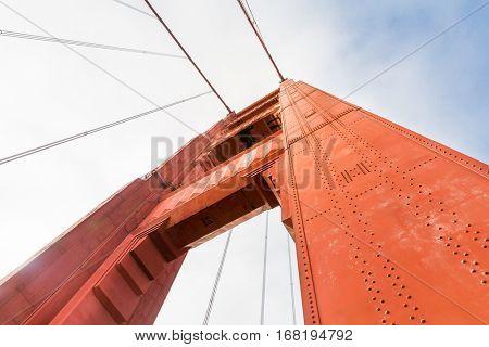 Golden Gate Bridge arch closeup bottom view