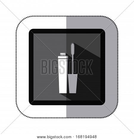 sticker monochrome square with eyeliner vector illustration