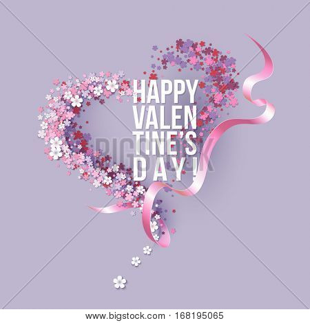 Valentines Day card with pink flowers heart shaped with ribbon and text. Vector illustration