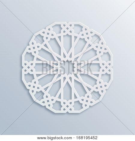 Vector muslim mosaic persian motif. Mosque decoration element. Islamic geometric pattern. Elegant white oriental ornament traditional arabic art. 3D mandala for brochures invitations greeting card