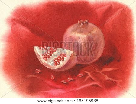 Illustration of ripe pomegranate fruit with seeds. Hand drawn watercolor painting on red background.
