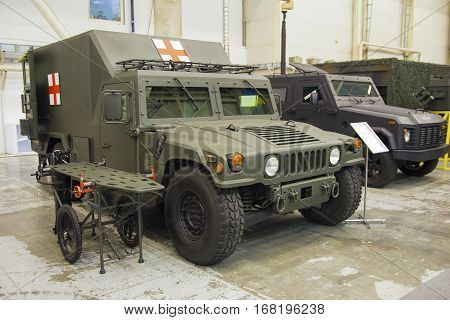 Kiev Ukraine - October 12 2016: Army medical vehicle in the performance of the specialized exhibition