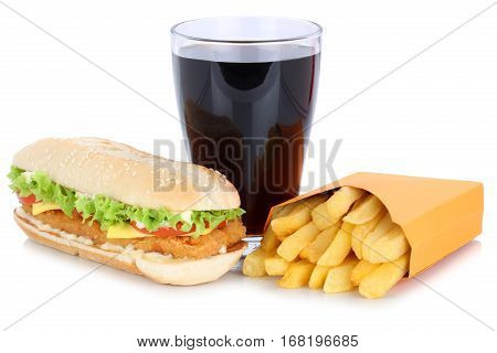 Chickenburger Chicken Burger Hamburger French Fries Menu Meal Combo Cola Drink Fast Food Isolated