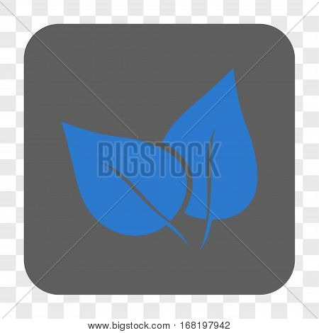 Flora Plant interface toolbar button. Vector icon style is a flat symbol on a rounded square button blue and gray colors chess transparent background.