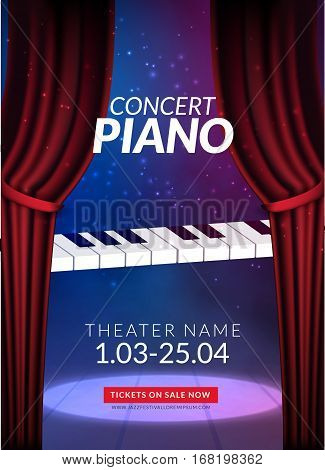 Piano music concert background. Musical illustration poster. Vector classical instrument sound concept.