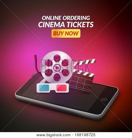 Cinema movie ticket online order concept. Mobile cinema smartphone app or web reservation. Vector illustration.