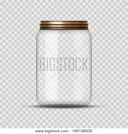 Glass Jar for canning and conservation. Vector empty jar design template with cover or lid on transparent.