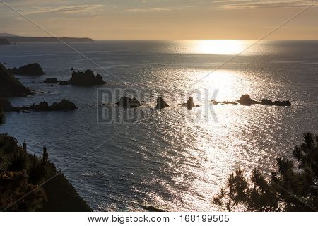 Evening Atlantic Ocean Coastline, Asturias, Spain.