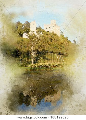 Watercolor of German Castle at a lake in near a small German town