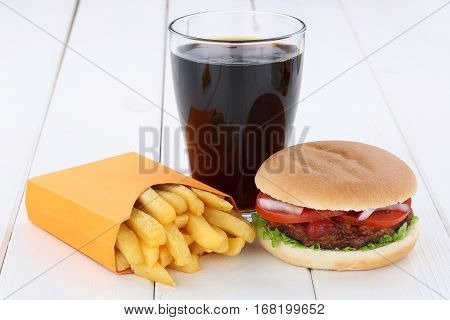 Hamburger And Fries Menu Meal Combo Cola