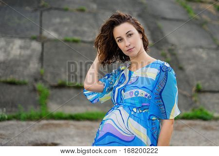 Pregnant Woman Straightens Her Hair