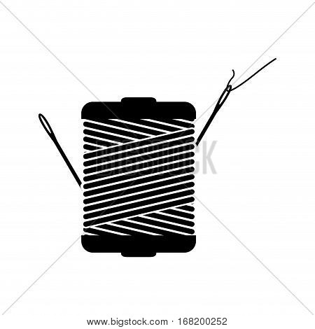 monochrome silhouette with thread spool and sewing needle vector illustration