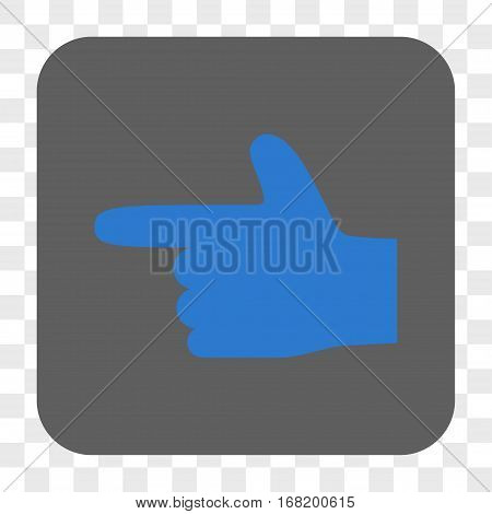 Hand Pointer Left interface toolbar button. Vector icon style is a flat symbol on a rounded square button blue and gray colors chess transparent background.