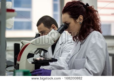 A female medical or scientific researcher or woman doctor looking through a microscope in a laboratory. Young scientist doing some research.