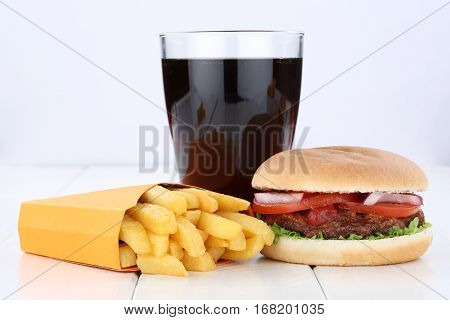 Hamburger And Fries Menu Meal Combo Cola Drink Unhealthy Eating