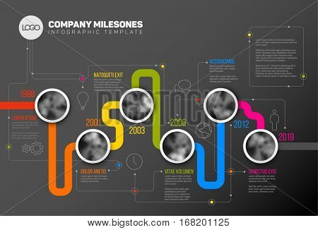 Vector Infographic Company Milestones Timeline Template with circle photo placeholders on colorful line - dark version