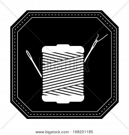 monochrome silhouette with thread spool and sewing needle in frame vector illustration