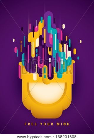 Conceptual abstract style illustration, with composition made of colorful designed shapes, smiling face and slogan. Vector illustration.