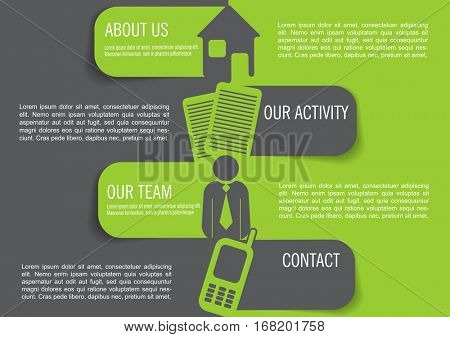 Vector infographic background with four marks, contact icons and a place for text content. Can be used for brochures, posters, flyers and other prints.