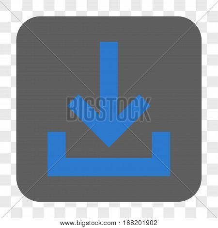 Inbox interface toolbar button. Vector icon style is a flat symbol in a rounded square button blue and gray colors chess transparent background.